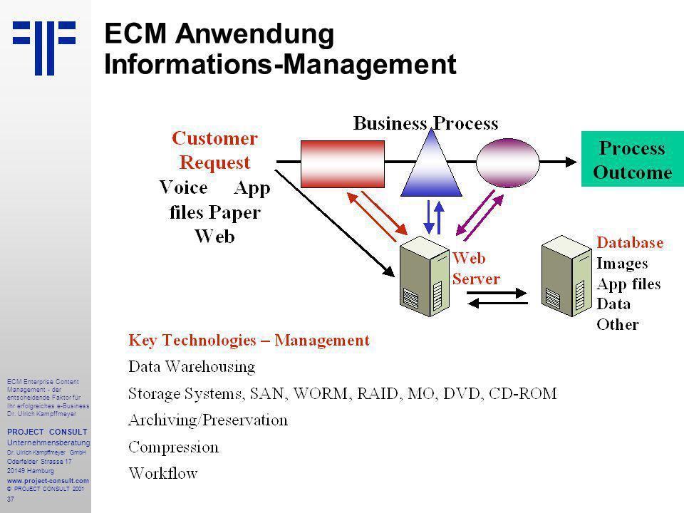 37 ECM Enterprise Content Management - der entscheidende Faktor für Ihr erfolgreiches e-Business Dr.