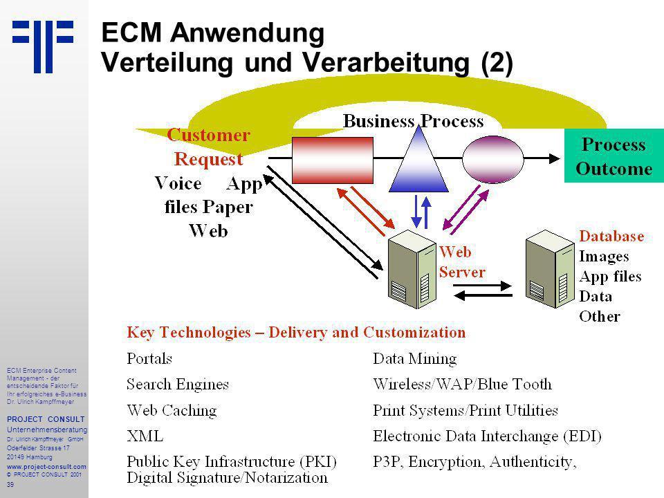 39 ECM Enterprise Content Management - der entscheidende Faktor für Ihr erfolgreiches e-Business Dr.