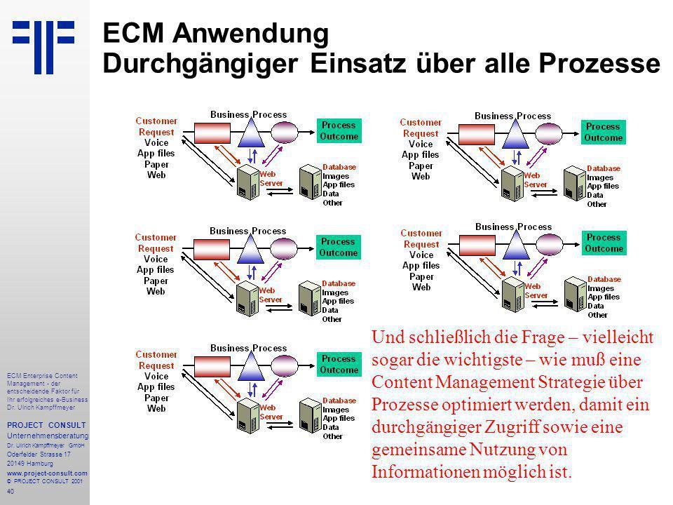 40 ECM Enterprise Content Management - der entscheidende Faktor für Ihr erfolgreiches e-Business Dr.