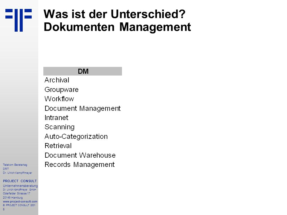 19 Telekom Beratertag DRT Dr.Ulrich Kampffmeyer PROJECT CONSULT Unternehmensberatung Dr.