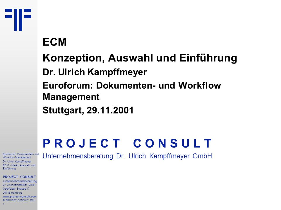 182 Euroforum: Dokumenten- und Workflow-Management Dr.