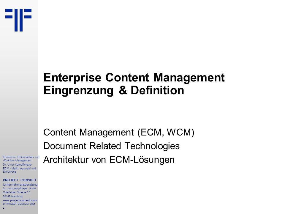 285 Euroforum: Dokumenten- und Workflow-Management Dr.