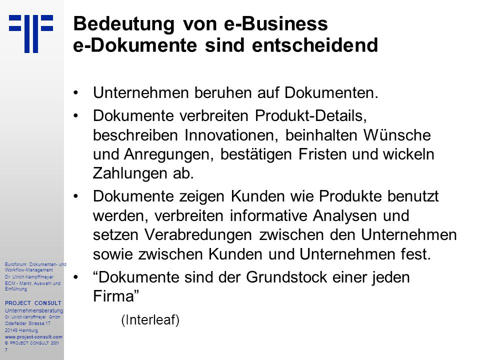148 Euroforum: Dokumenten- und Workflow-Management Dr.