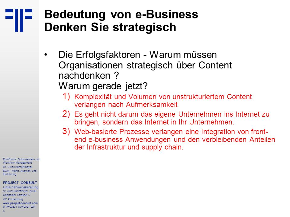 279 Euroforum: Dokumenten- und Workflow-Management Dr.