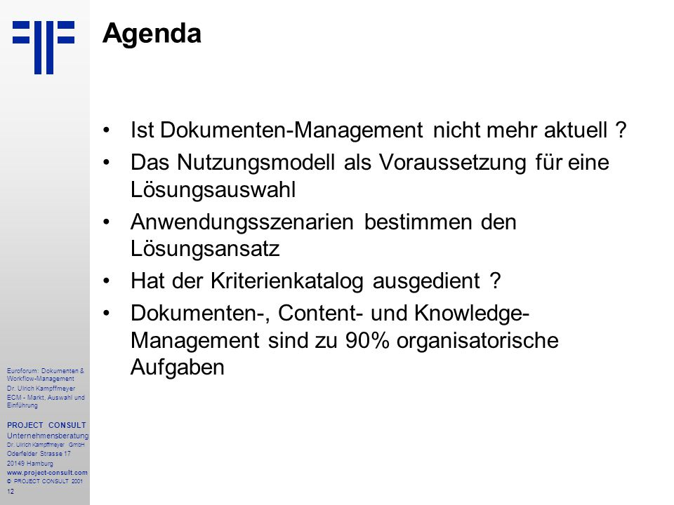 12 Euroforum: Dokumenten & Workflow-Management Dr.