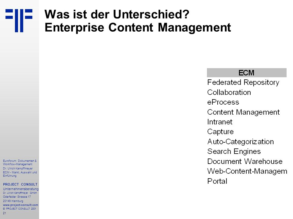 21 Euroforum: Dokumenten & Workflow-Management Dr.