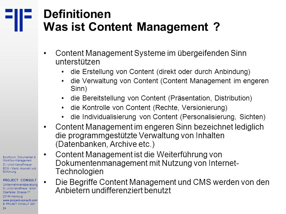 24 Euroforum: Dokumenten & Workflow-Management Dr.