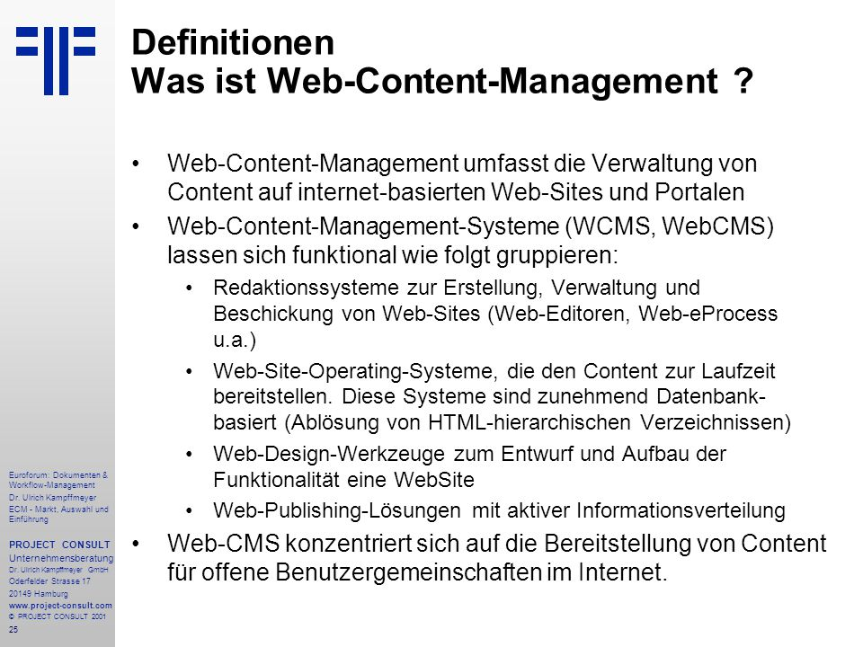 25 Euroforum: Dokumenten & Workflow-Management Dr.