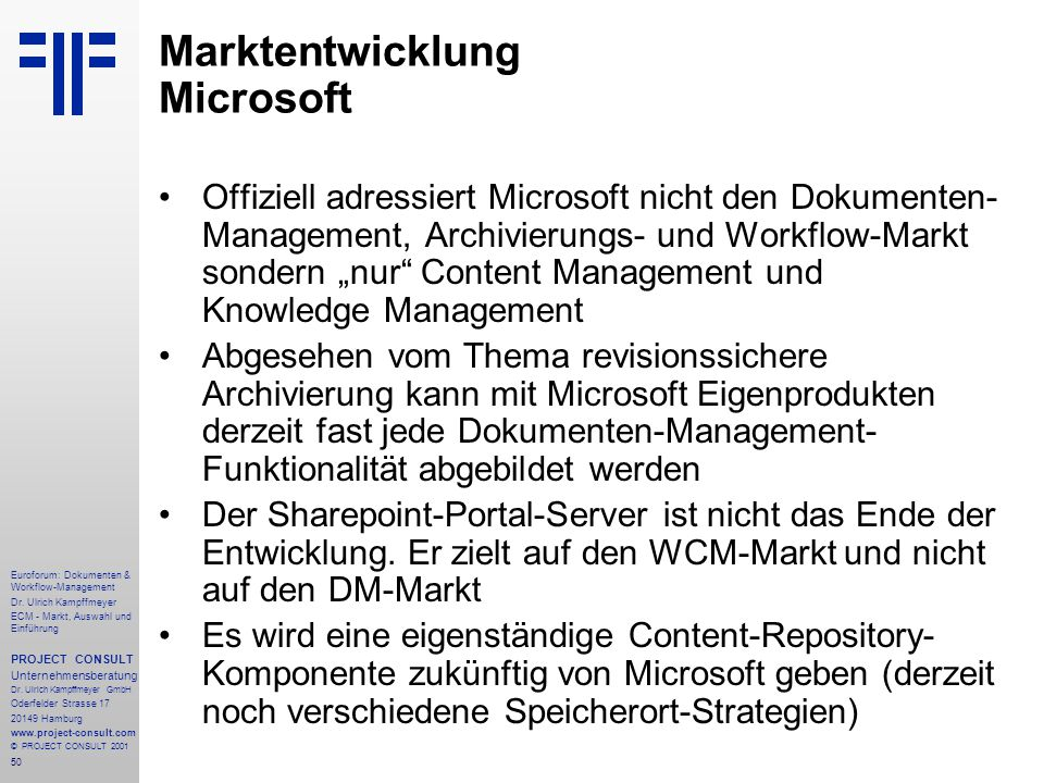 50 Euroforum: Dokumenten & Workflow-Management Dr.