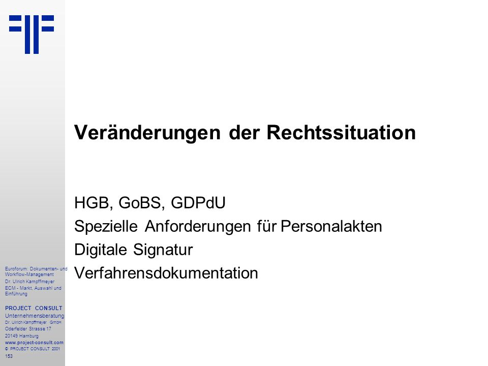 153 Euroforum: Dokumenten- und Workflow-Management Dr.