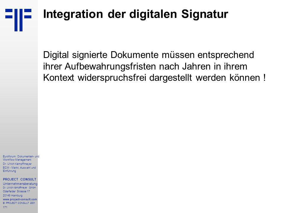 171 Euroforum: Dokumenten- und Workflow-Management Dr.