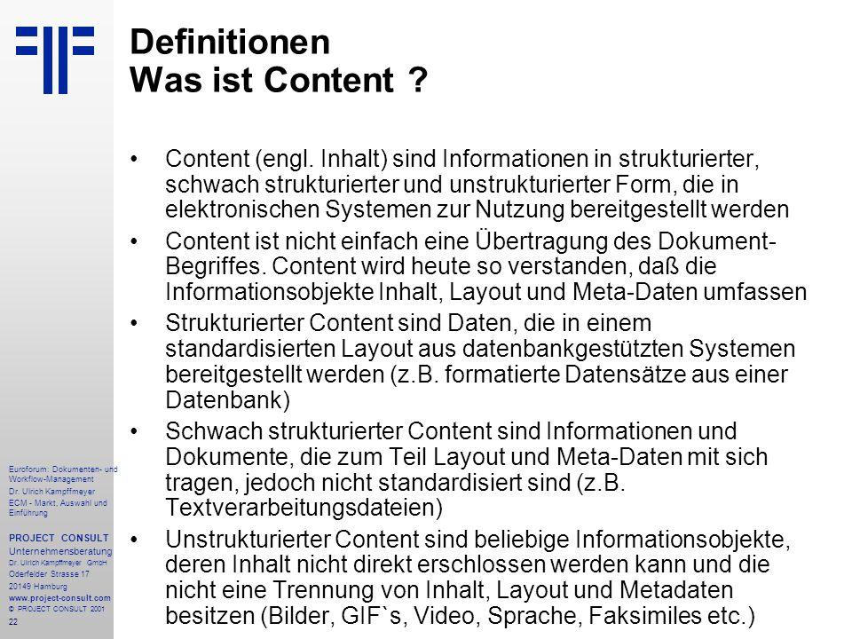 22 Euroforum: Dokumenten- und Workflow-Management Dr.