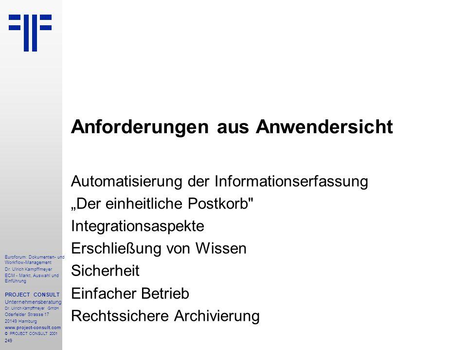 249 Euroforum: Dokumenten- und Workflow-Management Dr.
