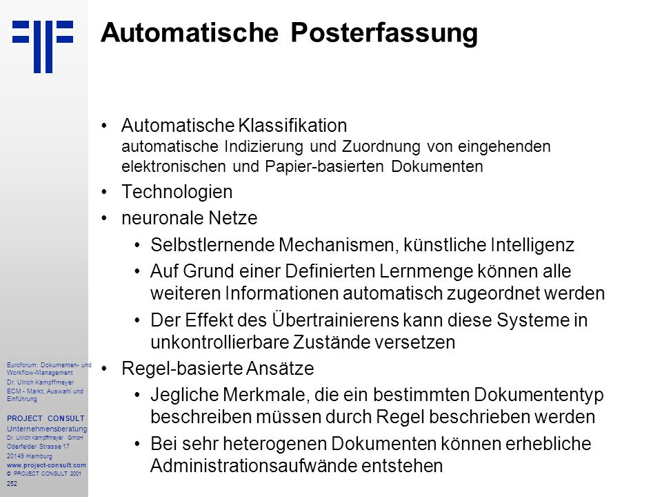 252 Euroforum: Dokumenten- und Workflow-Management Dr.