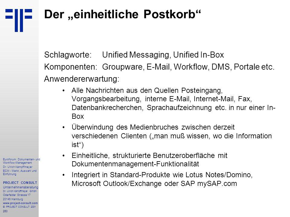 260 Euroforum: Dokumenten- und Workflow-Management Dr.