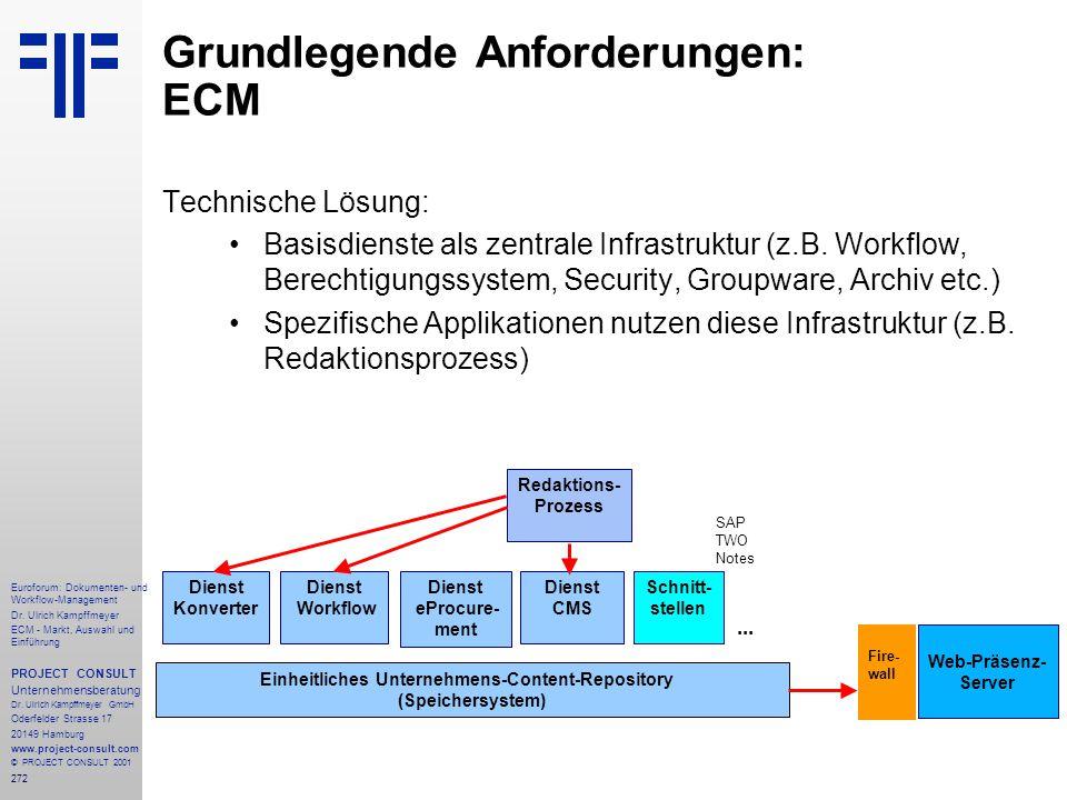 272 Euroforum: Dokumenten- und Workflow-Management Dr.