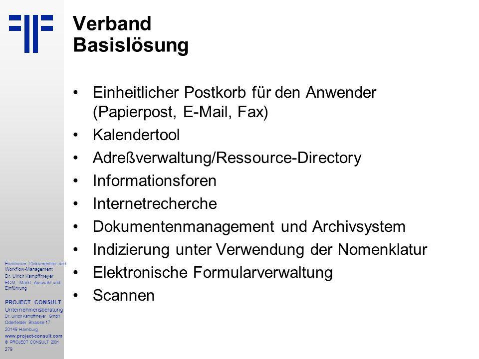 279 Euroforum: Dokumenten- und Workflow-Management Dr.