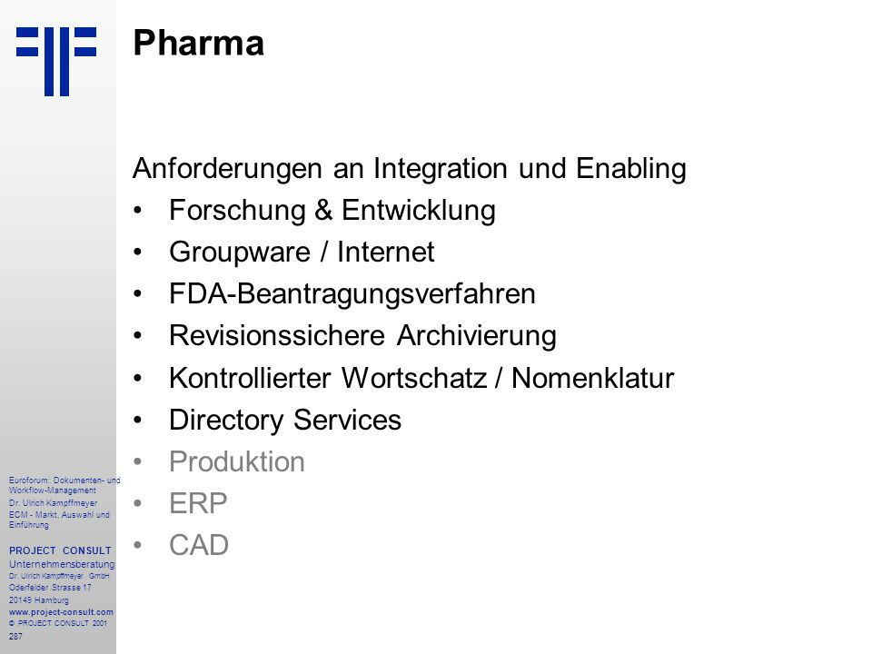 287 Euroforum: Dokumenten- und Workflow-Management Dr.