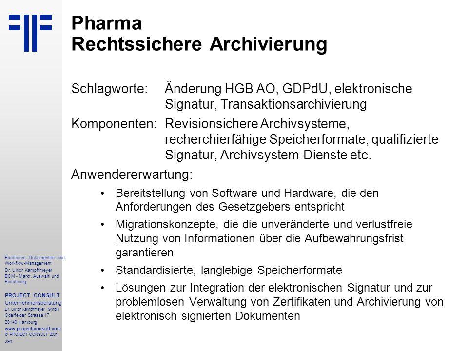293 Euroforum: Dokumenten- und Workflow-Management Dr.