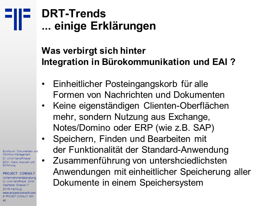 48 Euroforum: Dokumenten- und Workflow-Management Dr.