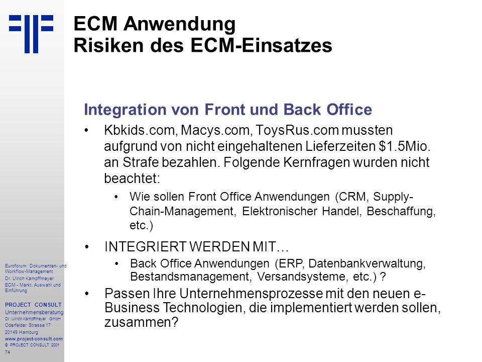 74 Euroforum: Dokumenten- und Workflow-Management Dr.
