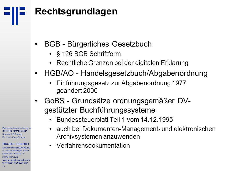 14 Elektronische Archivierung & rechtliche Veränderungen Keynote IIR-Tagung Dr.