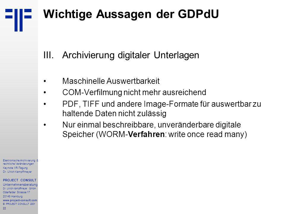 22 Elektronische Archivierung & rechtliche Veränderungen Keynote IIR-Tagung Dr.