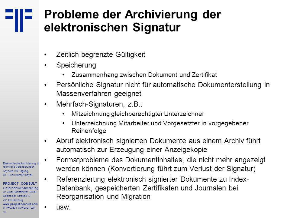 32 Elektronische Archivierung & rechtliche Veränderungen Keynote IIR-Tagung Dr.