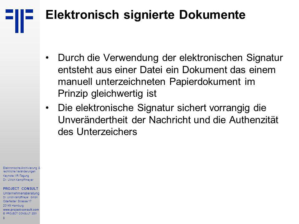 8 Elektronische Archivierung & rechtliche Veränderungen Keynote IIR-Tagung Dr.