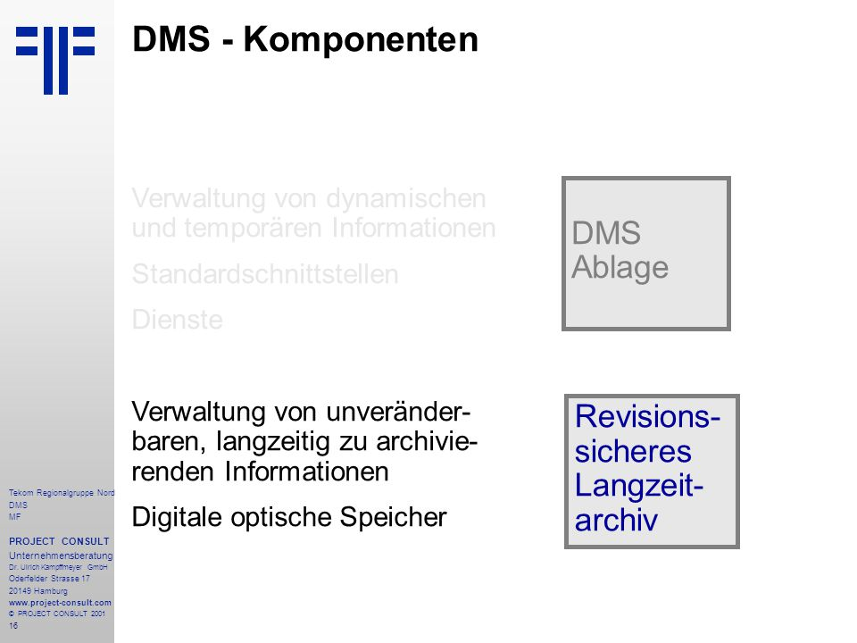16 Tekom Regionalgruppe Nord DMS MF PROJECT CONSULT Unternehmensberatung Dr.