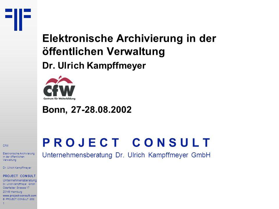 1 CfW Elektronische Archivierung in der öffentlichen Verwaltung Dr.