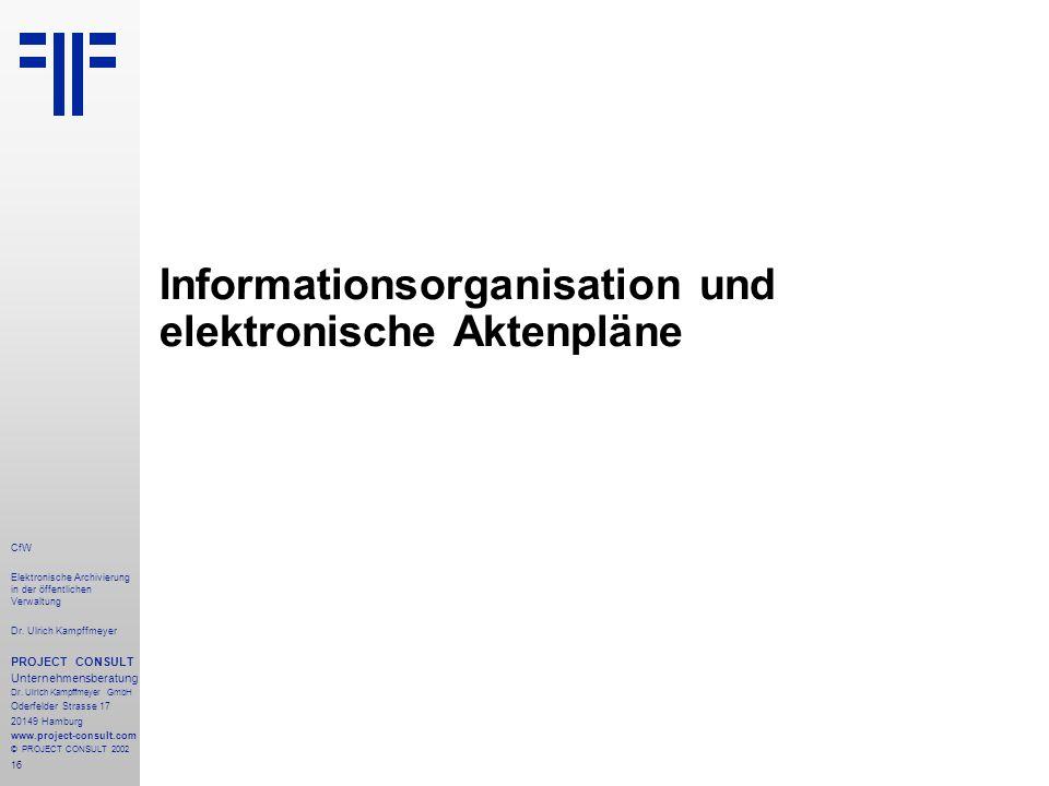 16 CfW Elektronische Archivierung in der öffentlichen Verwaltung Dr.