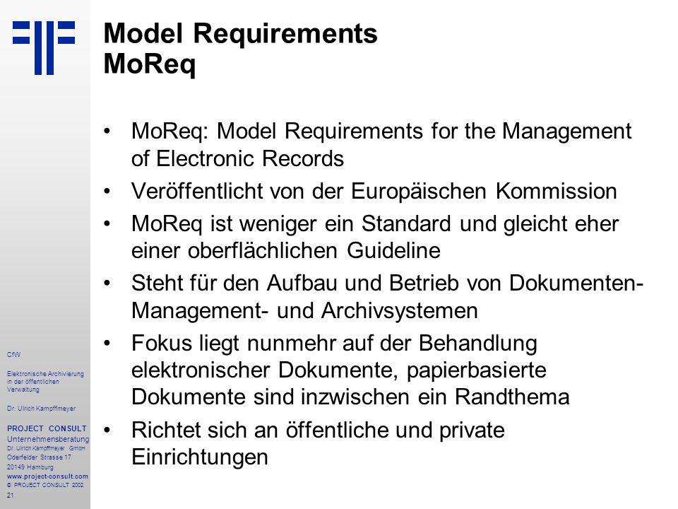 21 CfW Elektronische Archivierung in der öffentlichen Verwaltung Dr.