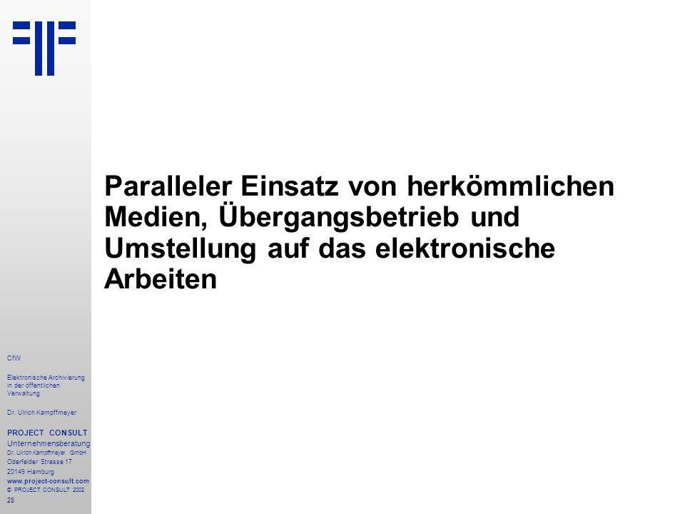 28 CfW Elektronische Archivierung in der öffentlichen Verwaltung Dr.