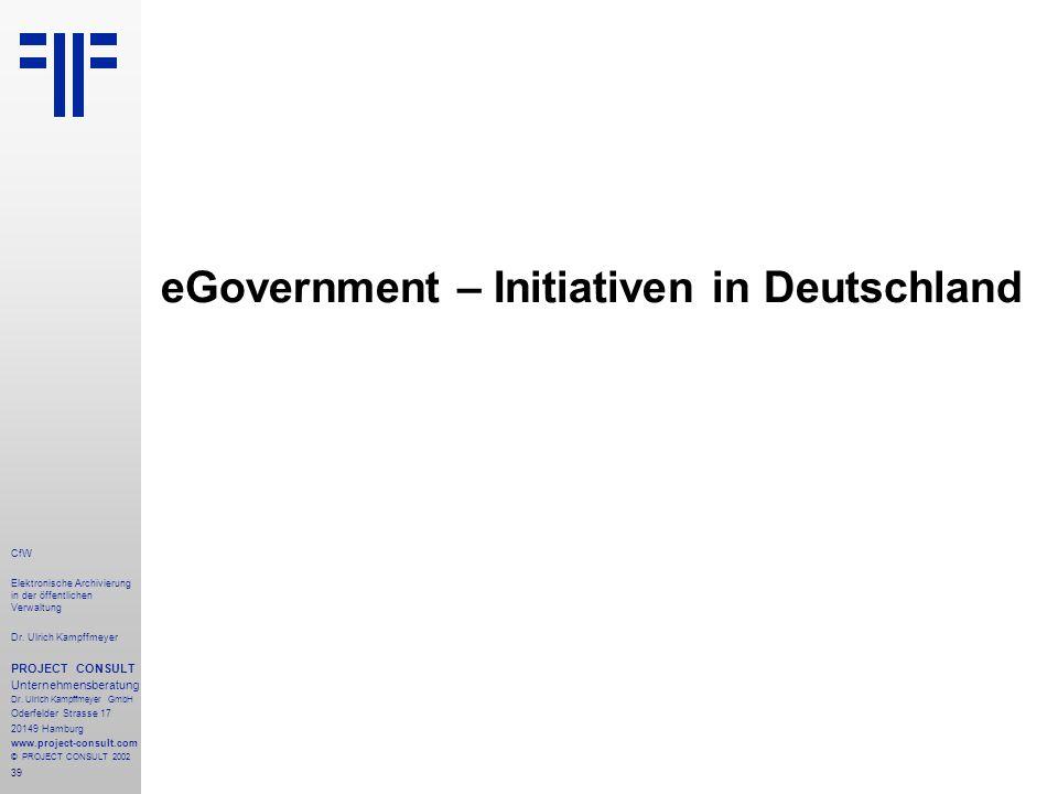 39 CfW Elektronische Archivierung in der öffentlichen Verwaltung Dr.
