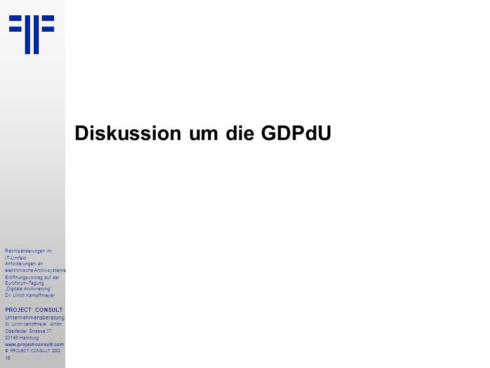 """16 Rechtsänderungen im IT-Umfeld Anforderungen an elektronische Archivsysteme Eröffnungsvortrag auf der Euroforum-Tagung """"Digitale Archivierung"""" Dr. U"""