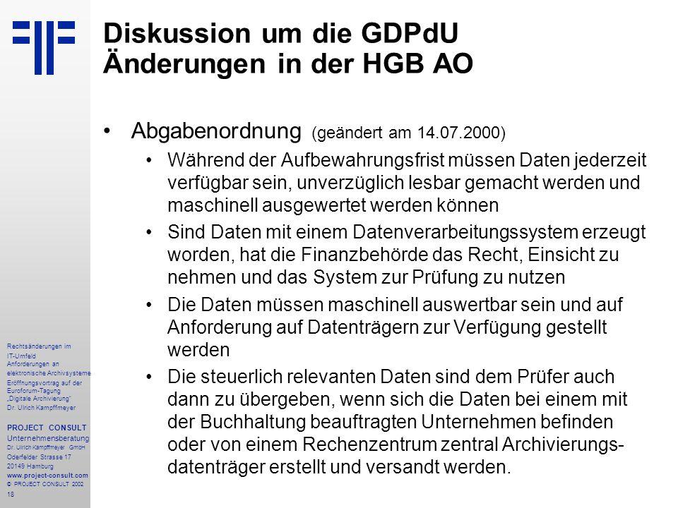 """18 Rechtsänderungen im IT-Umfeld Anforderungen an elektronische Archivsysteme Eröffnungsvortrag auf der Euroforum-Tagung """"Digitale Archivierung"""" Dr. U"""