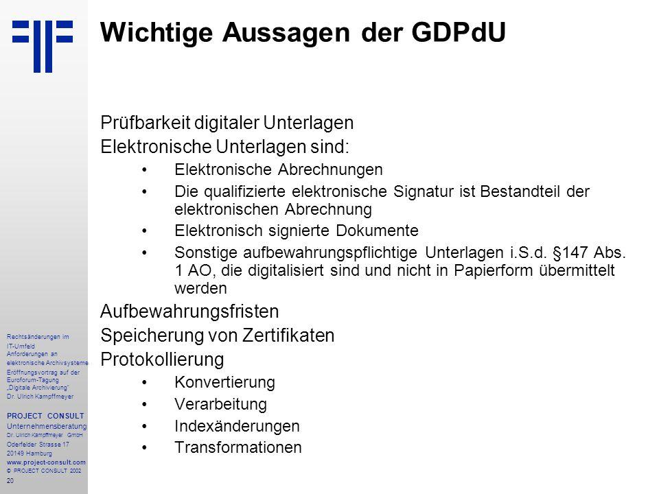 """20 Rechtsänderungen im IT-Umfeld Anforderungen an elektronische Archivsysteme Eröffnungsvortrag auf der Euroforum-Tagung """"Digitale Archivierung Dr."""