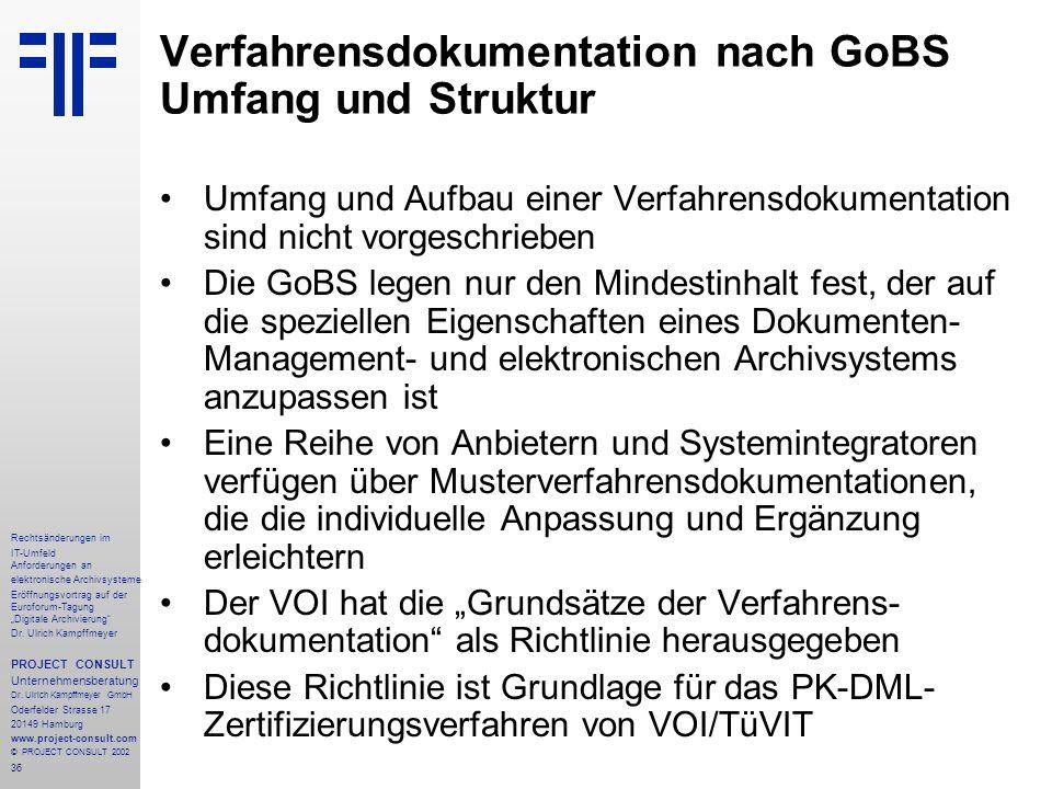 """36 Rechtsänderungen im IT-Umfeld Anforderungen an elektronische Archivsysteme Eröffnungsvortrag auf der Euroforum-Tagung """"Digitale Archivierung Dr."""