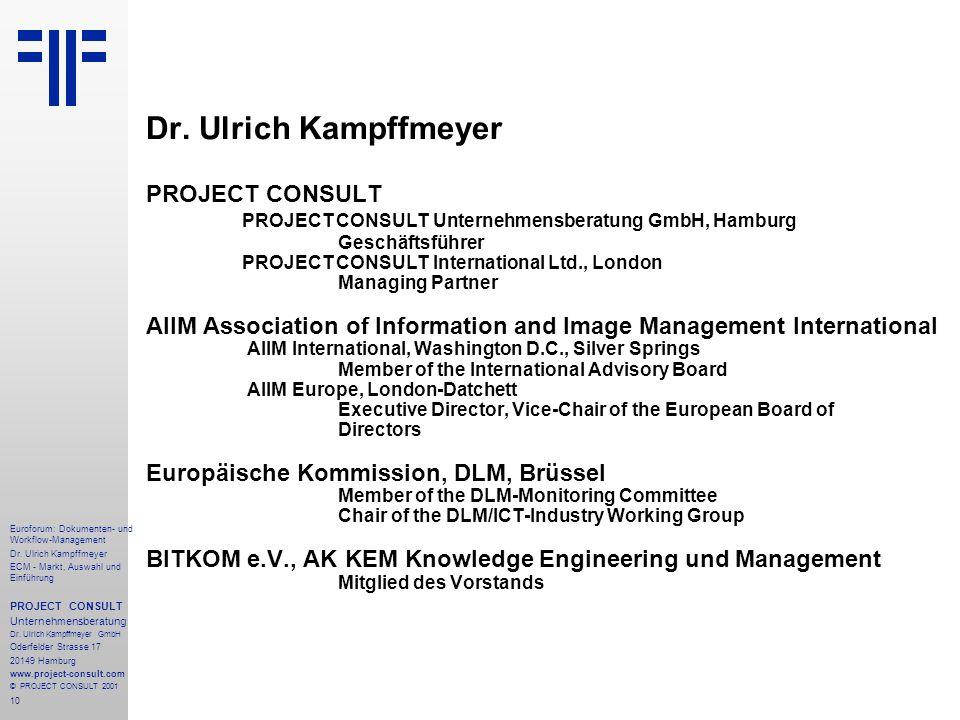 10 Euroforum: Dokumenten- und Workflow-Management Dr.