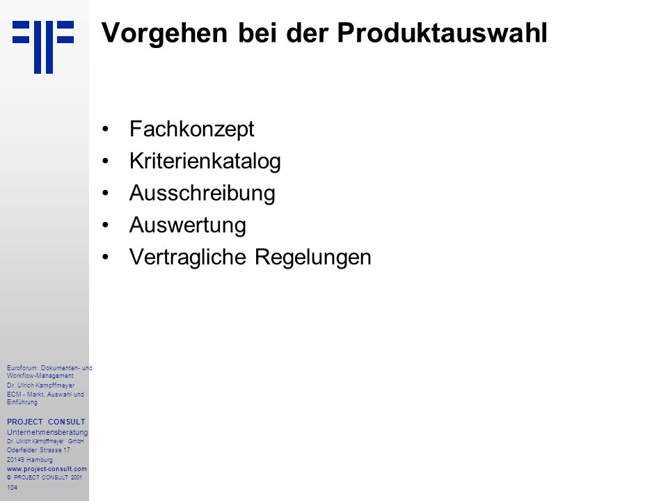 104 Euroforum: Dokumenten- und Workflow-Management Dr.