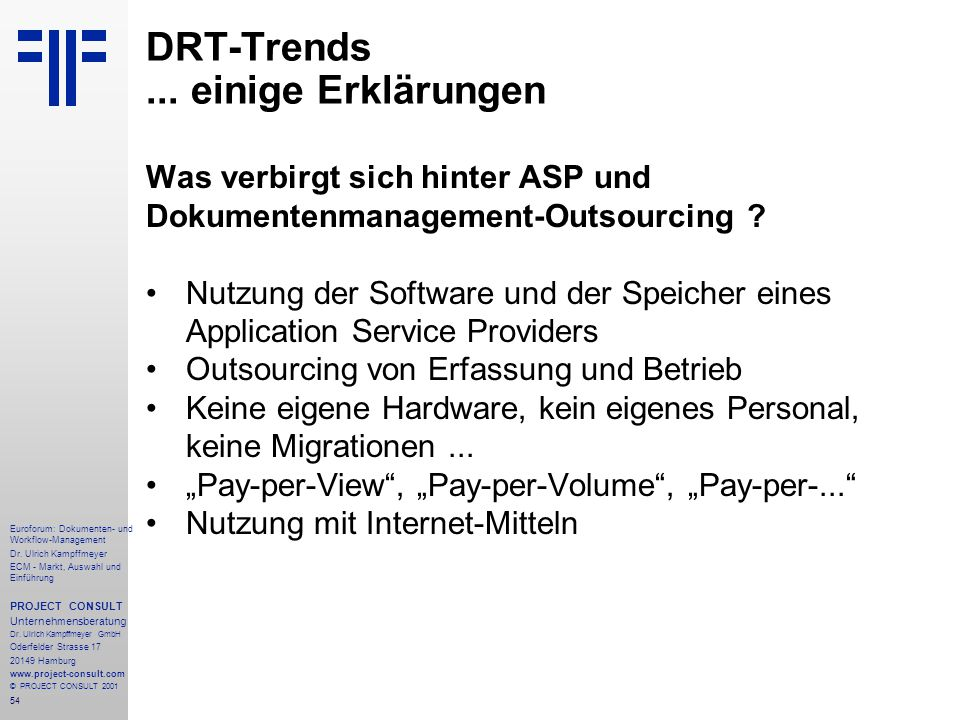 54 Euroforum: Dokumenten- und Workflow-Management Dr.