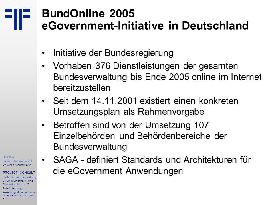22 DoQ-DAY Business to Government Dr. Ulrich Kampffmeyer PROJECT CONSULT Unternehmensberatung Dr.