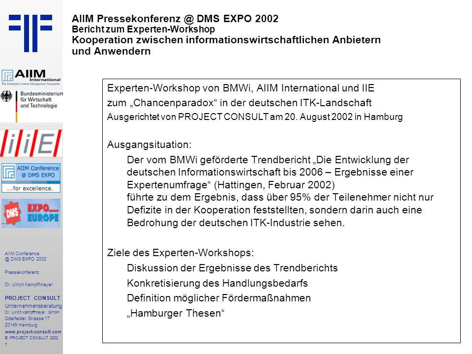 1 AIIM Conference @ DMS EXPO 2002 Pressekonferenz Dr.