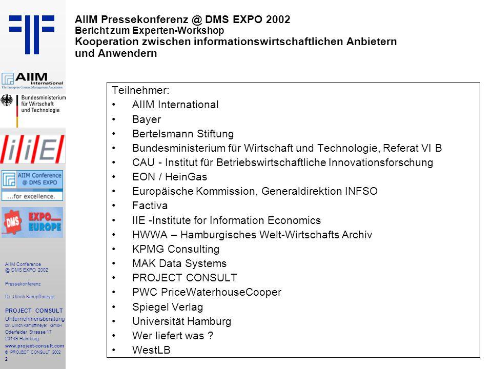 2 AIIM Conference @ DMS EXPO 2002 Pressekonferenz Dr.
