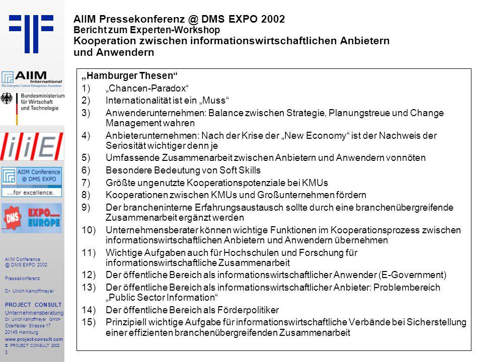 3 AIIM Conference @ DMS EXPO 2002 Pressekonferenz Dr.