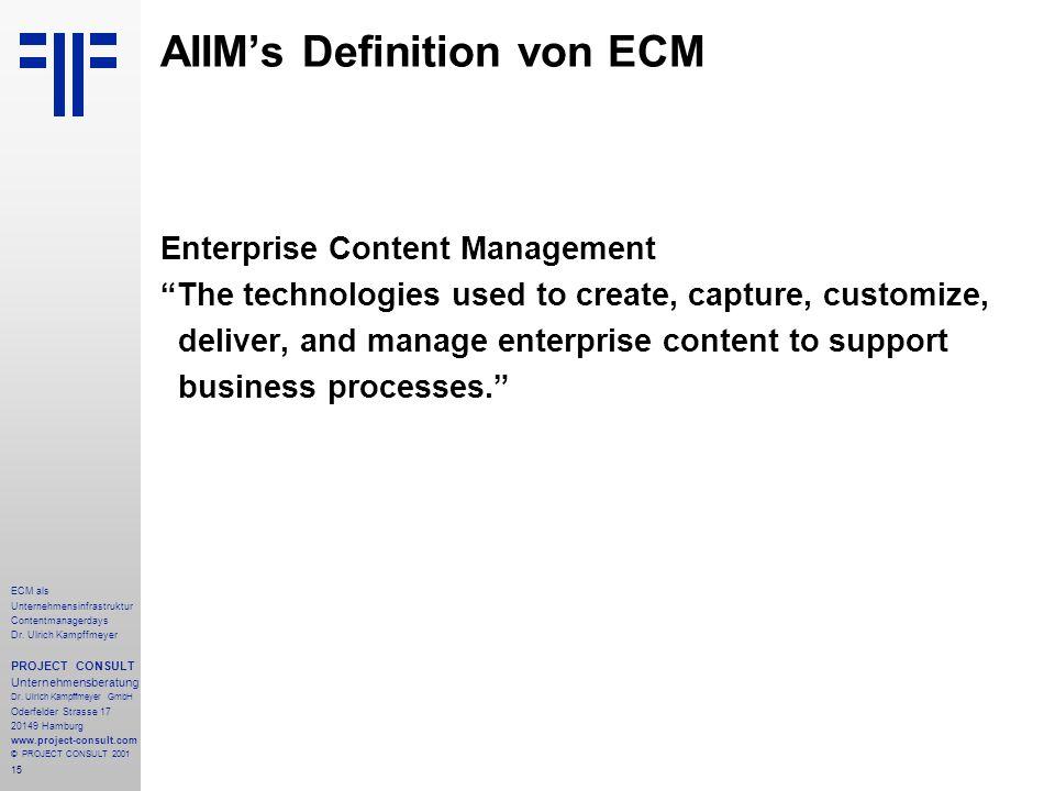 15 ECM als Unternehmensinfrastruktur Contentmanagerdays Dr.
