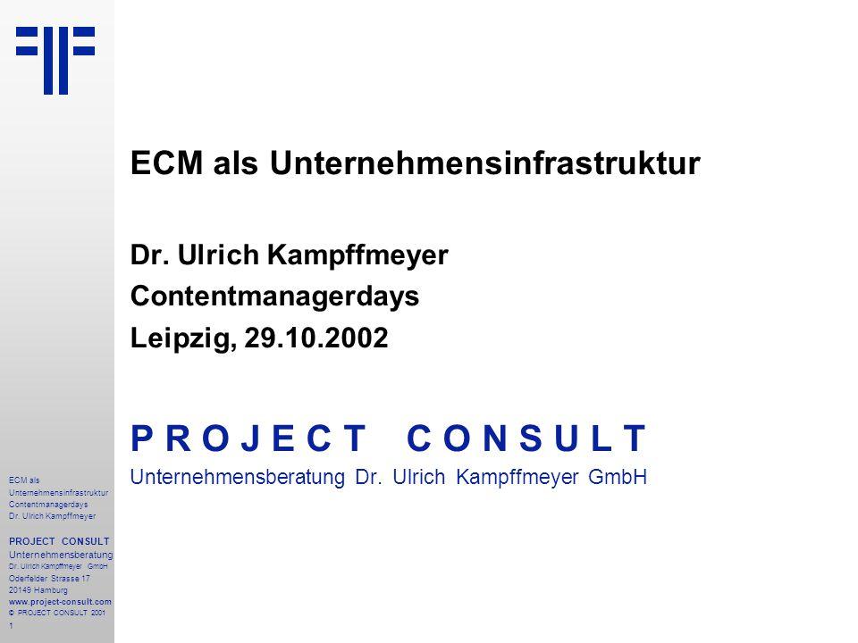 1 ECM als Unternehmensinfrastruktur Contentmanagerdays Dr. Ulrich Kampffmeyer PROJECT CONSULT Unternehmensberatung Dr. Ulrich Kampffmeyer GmbH Oderfel