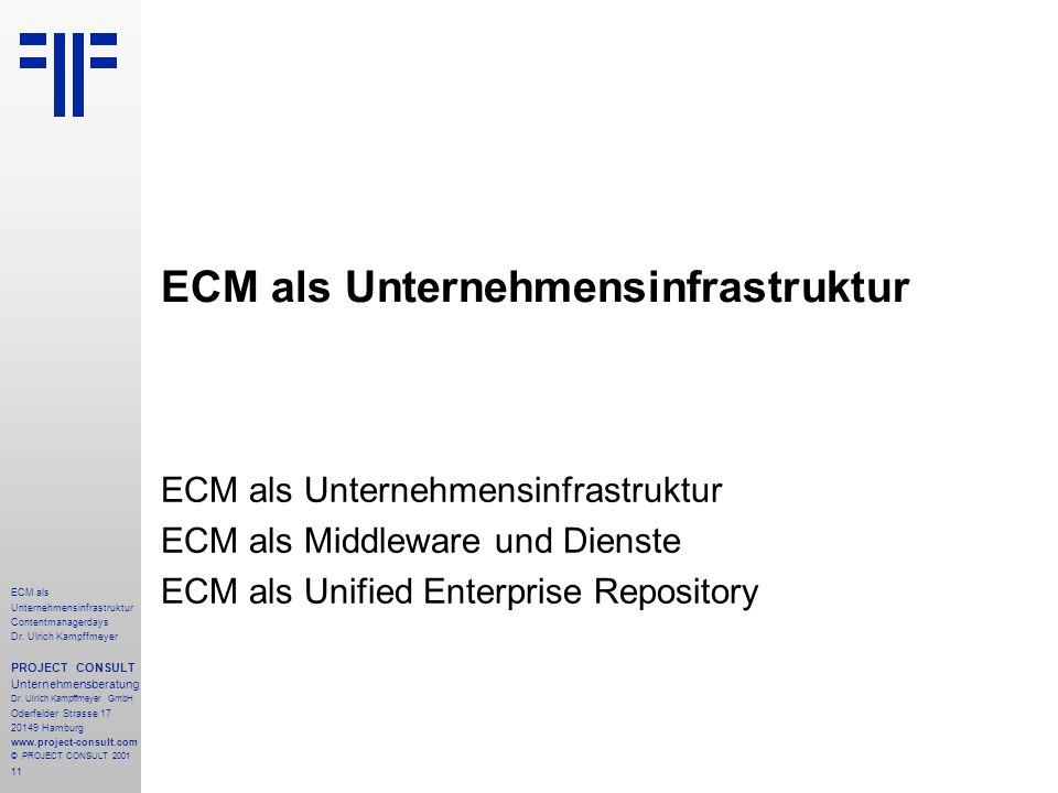 11 ECM als Unternehmensinfrastruktur Contentmanagerdays Dr. Ulrich Kampffmeyer PROJECT CONSULT Unternehmensberatung Dr. Ulrich Kampffmeyer GmbH Oderfe