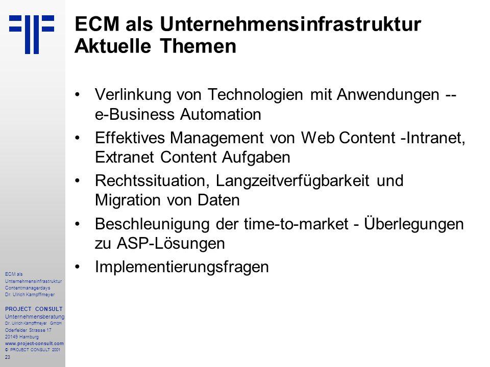 23 ECM als Unternehmensinfrastruktur Contentmanagerdays Dr. Ulrich Kampffmeyer PROJECT CONSULT Unternehmensberatung Dr. Ulrich Kampffmeyer GmbH Oderfe